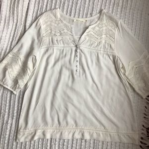 White Embroidered Blouse Plus Size 1X